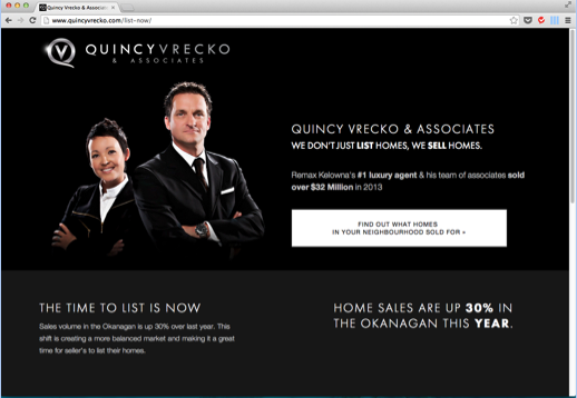 Quincy Vrecko Landing Page Example
